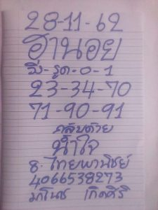 หวยฮานอย 28/11/62 ชุดที่ 3