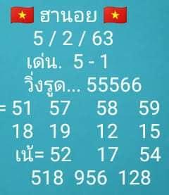 หวยฮานอย 5/2/63 ชุดที่ 4