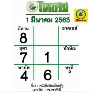 หวยไทยรัฐ 1/3/63