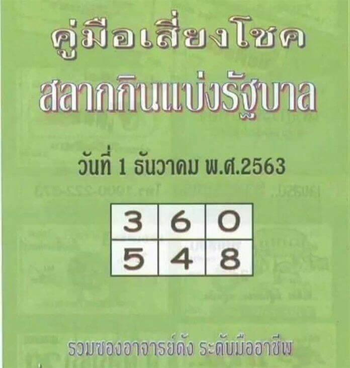 หวยปกเขียว 1/12/63