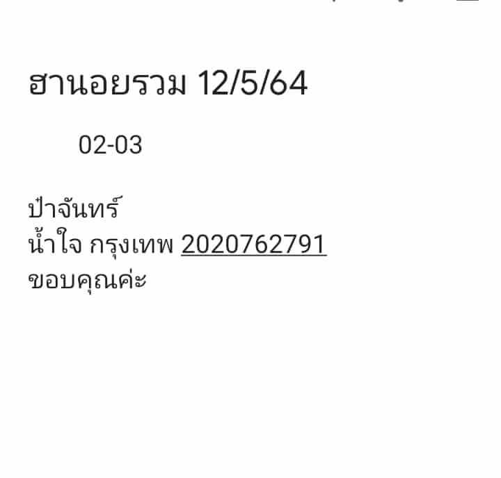 หวยฮานอยวันนี้ 12/5/64 ชุดที่6