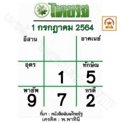หวยไทยรัฐ1-7-64
