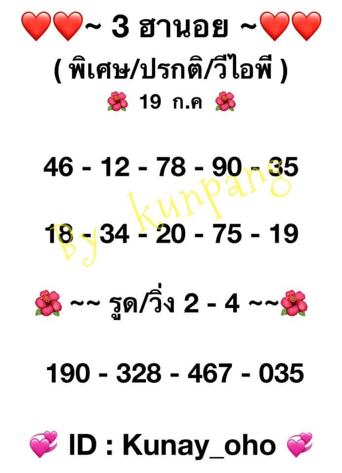 หวยฮานอย19-7-64ชุด1
