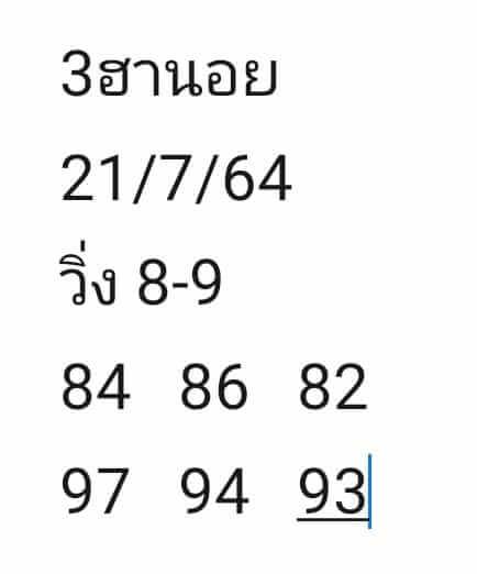 หวยฮานอย21-7-64ชุด10