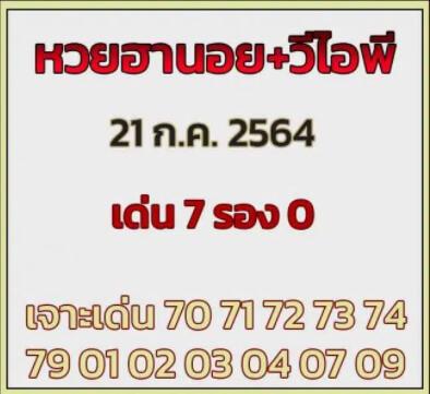 หวยฮานอย21-7-64ชุด7