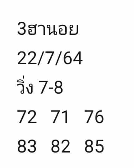 หวยฮานอย22-7-64ชุด6