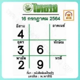 หวยไทยรัฐ16-7-64