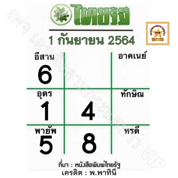 หวยไทยรัฐ1-9-64