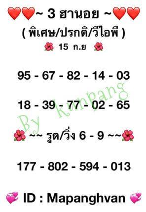 หวยฮานอย 15-9-64 ชุด 1