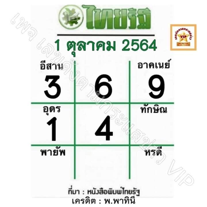 หวยไทยรัฐ 1-10-64